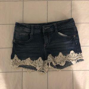 Vintage lace denim shorts